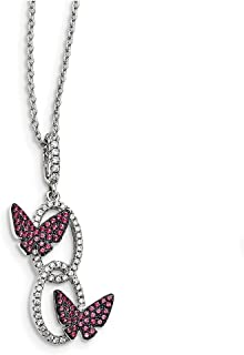 """Lex & Lu Sterling Silver CZ Brilliant Embers Butterfly Necklace 18"""""""