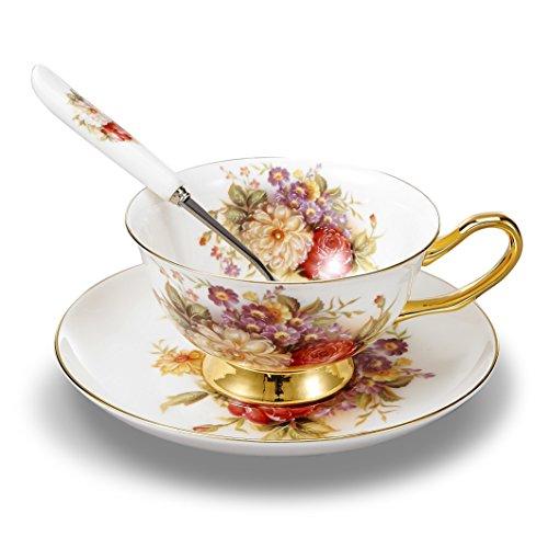 Panbado Set di Tazza e Piattino Bone China Tazzine da caffè Tazze da tè Servizi da caffè Mugs in Porcellana Coffee Cup Fiore, Set 1 Pezzi 1 Tazza, 1 Piattino, 1 Cucchiao, 200ml