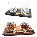 Deluxe Cocktail Gläser inkl. Servierbrett • Whiskey Gin Servier Brett
