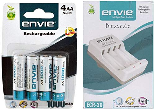 Envie AA 1000 Ni-CD Rechargeable Battery + ERC-20 Charger