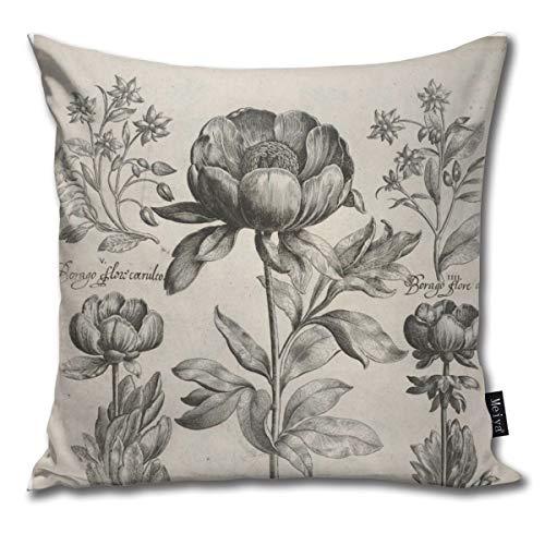 Zara-Decor Vintage zwart en wit botanische bloemen bloemen huis decoratieve gooi kussensloop kussensloop voor Gift Home Couch Bed Car 18