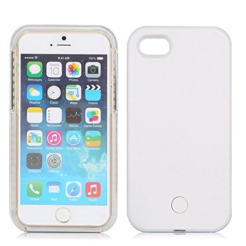 Custodia per iPhone con luci a LED per i selfie, dimmerabile e ricaricabile, include pellicola salvaschermo, plastica, White, iPhone 7 4.7inch