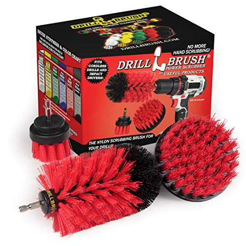 Drill Brush Power Scrubber by Useful Products - Outdoor Cleaning Drill Brushes - Garage Drill Brush Kit - Concrete Scrubber for Cordless Drill - Concrete Stain Remover Drill Brush Set for Power Drill