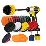 23 pezzi set di spazzole per trapano,JOQINEER Power Scrubber Drill Brush Kit, kit di spazzole di pulizia per sigillanti di piastrelle, vasche da bagno, lavandini, pavimenti, ruote, Carpe