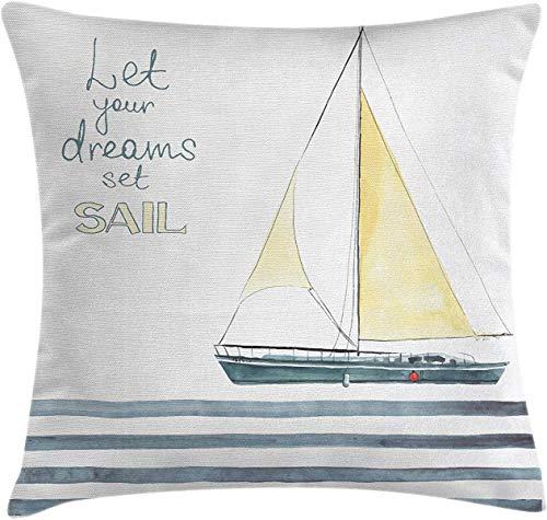 Funda de almohada náutica, funda de cojín con texto en inglés 'Let Your Dreams Set Sail Words Stripes Yacht Interior Navigation Theme, Decorative Square Accent Pillow Case 22' x 22', azul pálido blanco