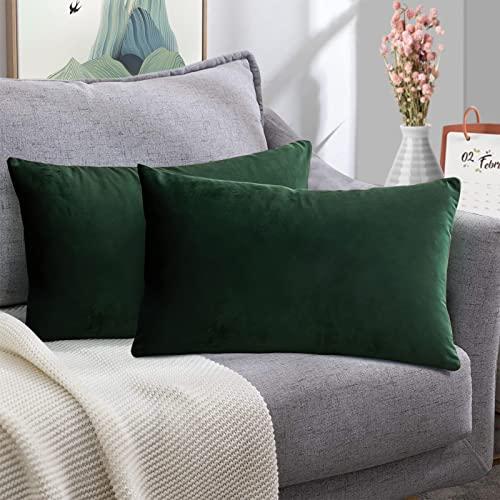 FORTRY Juego de 2 fundas de cojín de terciopelo suave y sólido, 30 x 50 cm, funda de cojín decorativa, para sofá, dormitorio, color verde oscuro