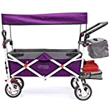 Creative Outdoor Push Pull Collapsible Folding Wagon Cart | Silver Series | Beach Park Garden & Tailgate | Purple