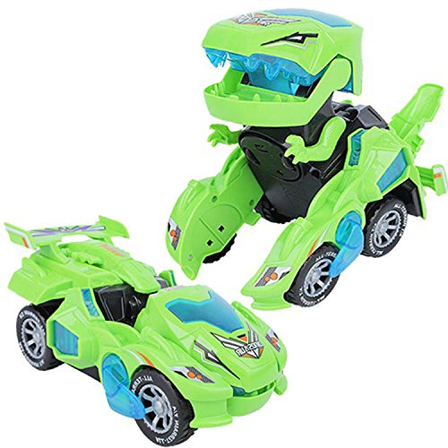 XILETAO Deform Dinosaur Toys for Boys Girls, 2 in 1 Dinosaur Toy Cars for Kids, Transforming Dinosaur LED Car with Music, Automatic Dino Transformers Toys, Boy Toys Dinosaurs Toy Car (Green)