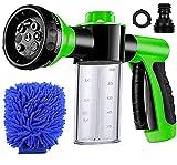 Hose Soap Sprayer Nozzle 8 Patterns, Car Wash Soap Sprayer Foam Sprayer Gun with 3.5oz/100cc Soap Dispenser Bottle, Washing Mitt, Garden Hose Nozzle Sprayer for Cleaning, Plant Watering, Showering Pet