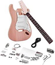 Muslady ST Style DIY Electric Guitar Kit Unfinished Mahogany Body Maple Guitar Neck Rosewood Fingerboard