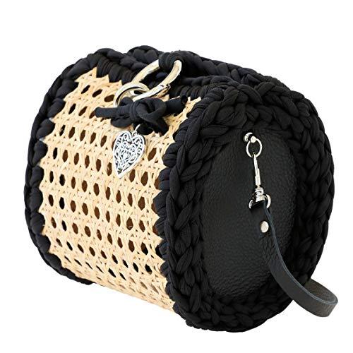 CHIARAmente Unico Italienische Damen Tasche, Stroh, Pochette (Schwarz mit Schulterriemen)