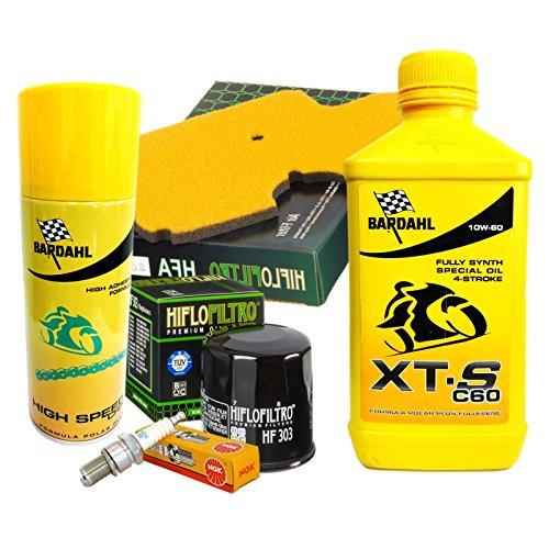 Baardtrimmer set Bardahl XTS 10W60 oliefilter luchtfilter windlicht spray Versys 650 08/14