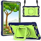 Xuanbeier Funda para Samsung Galaxy Tab A7 10,4 Pulgadas SM-T500/T505 Resistente a Los Golpes,Cubierta Blindada con Soporte Giratorio de 360° y Correa de Muñeca Ajustable,Azul-Verde