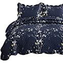 Bedsure Navy Twin Size Plum Blossom Quilt Set