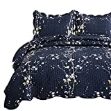 Bedsure Quilt Set Navy Full/Queen Size Plum Blossom (90x96 inches) Bedspread, Lightweight Coverlet Quilt for Spring and Summer, 1 Quilt and 2 Pillow Shams