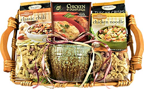 Warm And Cozy, Gourmet Gift Basket with Over-Sized Soup Bowl, Chili Mix, Chicken Noodle Soup, Chicken and Dumplings Mix and Guormet Crackers, 6 Pounds