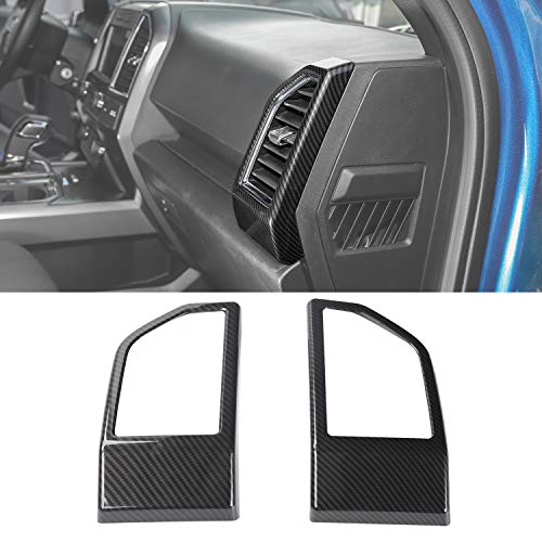 Voodonala Carbon Fiber Grain Dashboard Side Outlet Vent Covers Trim for Ford F150 2015 2016 2017