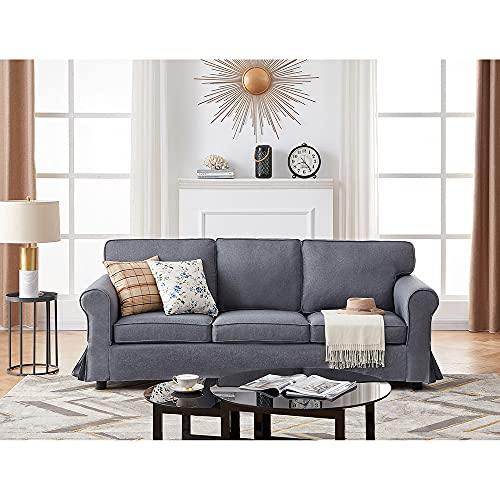 3 Seater Sofa Modern Corner Sofa Fabric Grey Compact Sofa Couches Settee for Living Room, Removable Cover (Gray, 3 Seater)