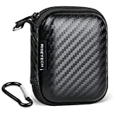 RISETECH Earbud Case Earphone Carrying Case Hard EVA Headphone Storage Bag Small Zipper Pouch Compatible with Clip MP3, Beats urBeats3, Bose Soundsport, EarPods, AirPods, Sony Earbuds -with Carabiner