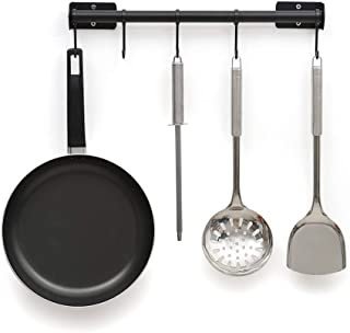RZChome 15.94 inch Hanging Pot Bar Rack Wall Mounted Lid Holder Detachable Rail Kitchen Utensils Hanger with 5 S Hooks Black