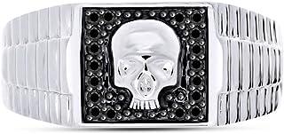 خاتم AFFY أسود طبيعي الماس الجمجمة باند للرجال من الذهب الأبيض عيار 14 قيراط على الفضة الاسترليني (1/5 cttw)