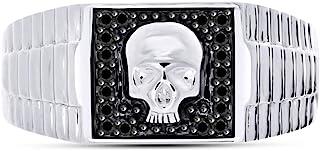 AFFY Black Natural Diamond Skull Band Ring for Men's in 14k White Gold Over Sterling Silver (1/5 cttw)