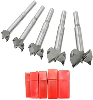 Mengshen Forstner Drill Bits Woodworking Drill 15-35mm 5PCS, Carbon High Speed Steel Flat Wing Drilling Hole Hinge Cemente...