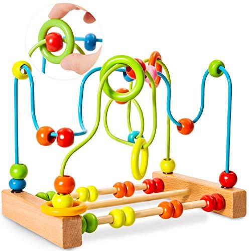 HERSITY Laberinto de Abalorios Juguetes de Madera Cuentas Abaco Infantil Juegos Madera Educativos Regalos para Niños Niñas Bebes 3 4 5 Años