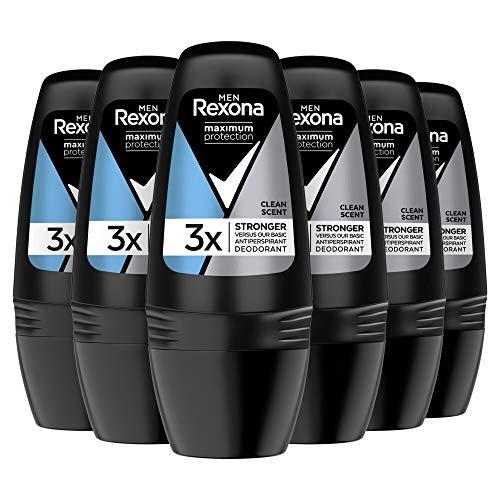 Rexona Men Maximum Protection Desodorante Antitranspirante Roll On Clean Scent 50ml, pack de 6