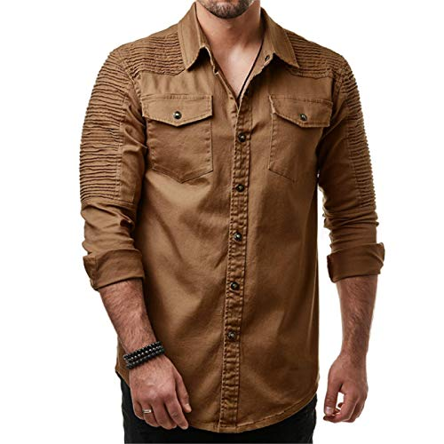 CFWL Camisa De Mezclilla De Color SóLido con Hombros Doblados para Hombre Camisa De Mezclilla Lavada De Manga Larga Cuero para Hombre con Capucha Chaqueta Casual De AlgodóN MarróN M