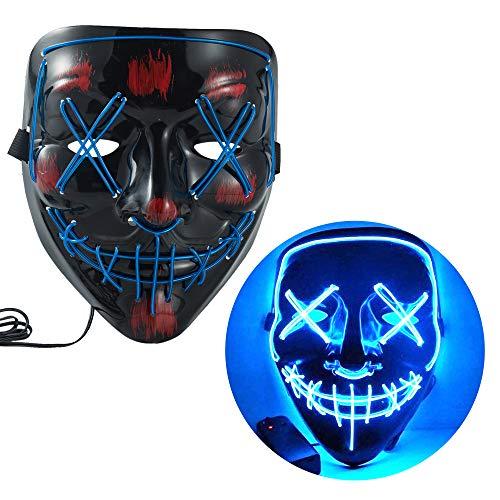 WUJO LED-Halloweenmaske, EL-Draht, gruseliges Kostüm, leuchtende Maske, leuchtet für Festivals, Partys (blau)