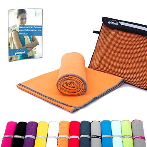 Mikrofaser Handtuch Set - Microfaser Handtücher für Sauna, Fitness, Sport I Strandtuch, Sporthandtuch I Orange | S(80x40cm)