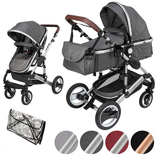ib style® SOLE 2 in 1 Kombi Kinderwagen | Buggy | Zusammenklappbar | inkl. Regen- & Mückenschutz | 0-15kg |Grau