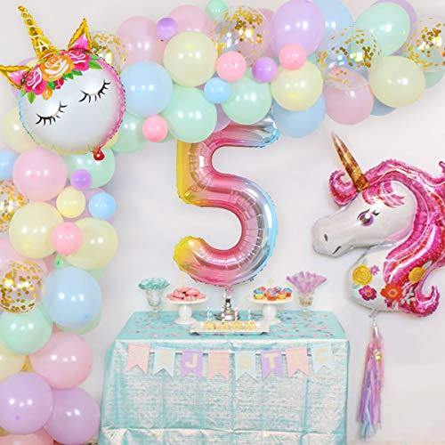 Kit de decoración de unicornio para 5º cumpleaños para niña, arco iris, unicornio, globo, guirnalda, 5 años, decoración de cumpleaños, suministros 98 unidades