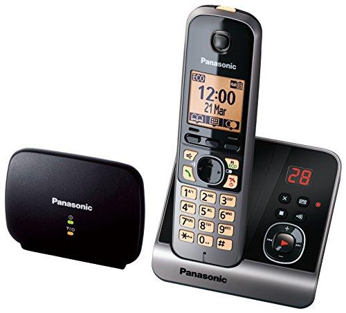 Panasonic KX-TG6761GB draadloze telefoon met DECT-repeater voor een beter bereik, telefoonversterker, zwart