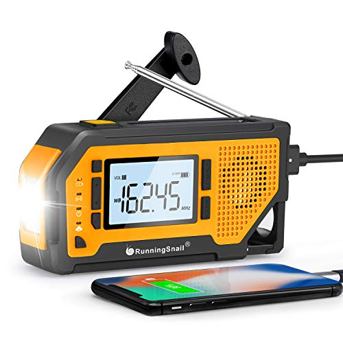 【2021 Newest Version】Runningsnail Emergency Weather Alert Radio-AM/FM/NOAA Weather Radio With 2000mAh Battery, Solar Hand Crank Portable Radio With Large LCD Display&Bottle Opener For Home and Outdoor