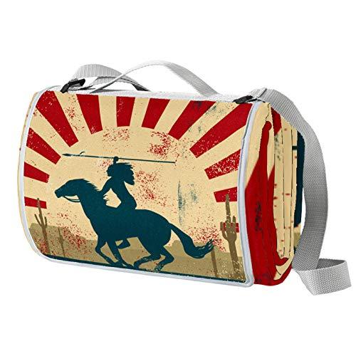 Anmarco Manta de pícnic con estampado de caballos étnicos indios, impermeable, para exteriores, plegable, para playa, camping, senderismo