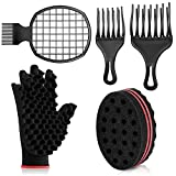 5 Pieces Afro Twist Hair Comb Set, Includes Hair Twist Comb Hair Pick Afro Comb Large and Small Hair Pick Comb Hair Curly Sponge Glove and Twist Wave Barber Tool Twist Wave Curl Brush for Natural Hair
