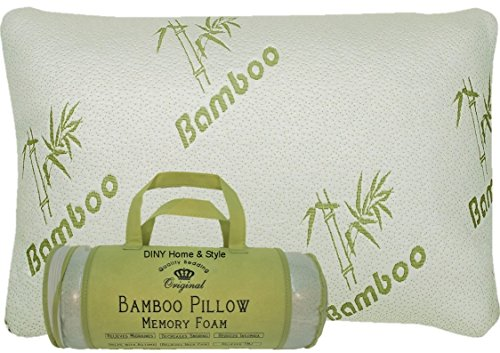 Bamboo Memory Foam Pillow in a Bag - Helps Relieve Snoring, Migraines, Insomnia, Neck Pain and Tmj - May Help with Asthema (White, King)