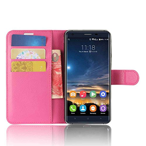 Tasche für Oukitel K6000 Pro Hülle, Ycloud PU Kunstleder Ledertasche Flip Cover Wallet Case Handyhülle mit Stand Function Credit Card Slots Bookstyle Purse Design Rose Red