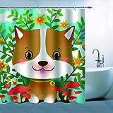 N\A Cortina de Ducha de Perro de Dibujos Animados decoración Adorable Cachorro Perro Flor Amarilla Hojas Verdes Seta roja Cortina de baño poliéster Impermeable