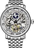 Stührling Original Mens Automatic Watch, Skeleton Watch Analog Dial, Silver Accents, Dual Time, AM/PM Sun Moon, Stainless Steel Bracelet, 3922 Watches for Men Collection (Silvery)