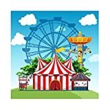 Leyiyi 10x10ft Cartoon Red-White Vertical Striped Tent Backdrop Amusement Park Ferris Wheel Playing Children Spring 0uting Summer Camp Background Personal Portraits Studio Props