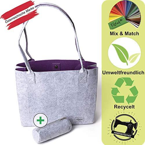Handtasche Damen Shopper Greta Einkaufstasche Damen Filztaschen Shopper groß Schultertasche Tragetasche, Grau & Violett, M (15L)