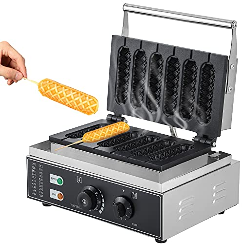 CGOLDENWALL Commercial/Home Electric Corn Hot Dog Machine Non-stick French Muffin Waffle Irons 6Pcs Waffle Stick Maker Stainless Steel Temperature Range 50-300 ℃ Timer 0-5 Min 1550W
