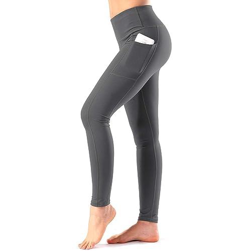 a3d0bd7b1ff85 Women's High Waist Yoga Pants with Side & Inner Pockets Tummy Control  Workout Running 4 Way