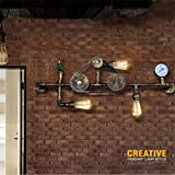 GQQ Lámpara de Pared, Tubo de Agua, Aplique de Hierro, Lámpara de Pared, Cadena de Engranajes Industrial Vintage, Lámpara de Pared, Reloj de Bolsillo Retro, Iluminación para el Hogar
