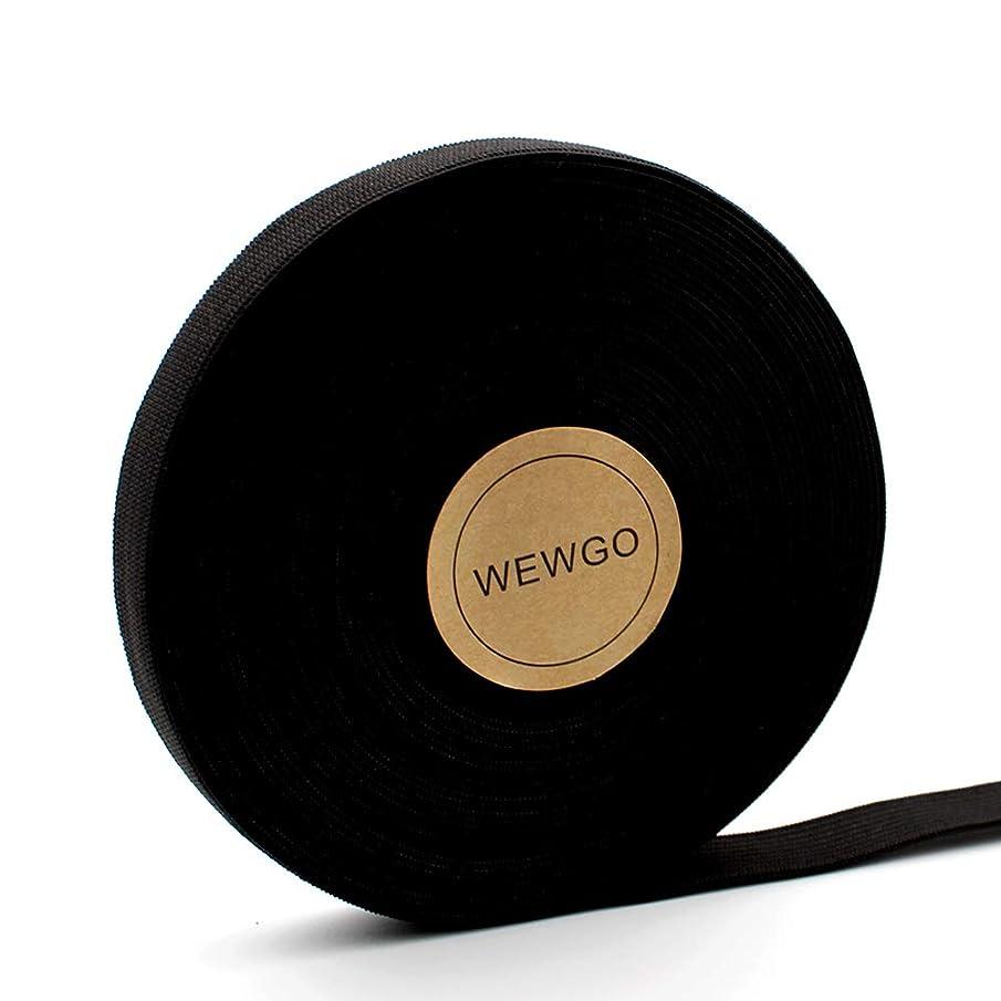 WEWGO 0.6 Inch Wide Black Knit Elastic Spool Heavy Stretch High Elasticity Knit Elastic Bands - Black(0.6 Inch x 11 Yard)