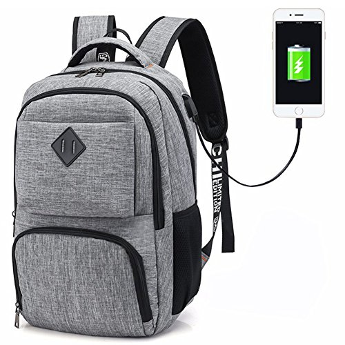 Hotchy Zaino Laptop Portatile da 15.6 Pollici Zaino porta Zaino Scuola Oxford con porta di ricarica USB per il lavoro da viaggio Escursionismo Campeggio 35L(Grigio)