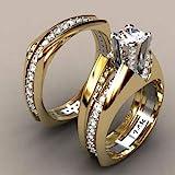 Nongkhai shop 14K Solid Yellow Gold White Sapphire Ring Set Wedding Women Men's Jewelry Sz6-10 (7)